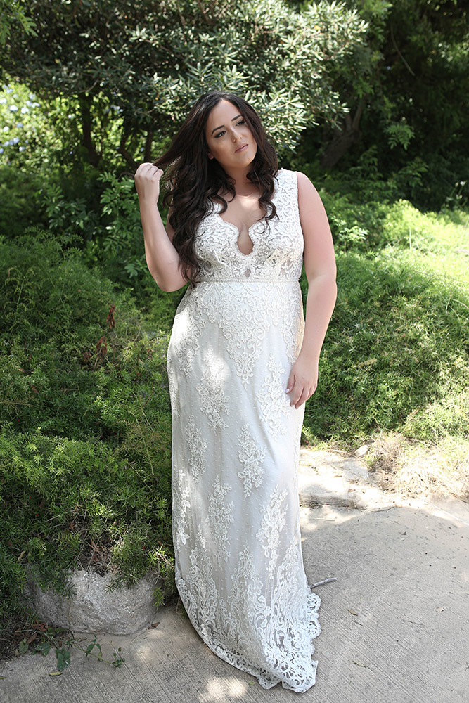 Chiara by studio levana plus size bridel gown all lace with pearl belt and deep v nackline