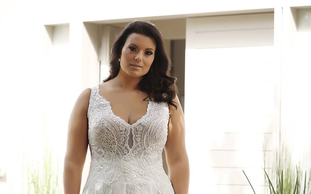 Chloe by studio levana plus size boho and romantic wedding dress with baeded lace top
