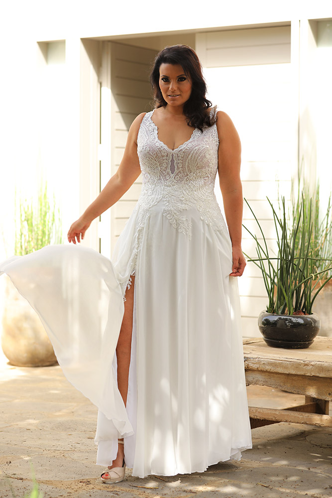 Chloe by studio levana plus size boho and romantic wedding dress with baeded lace top and a split skirt