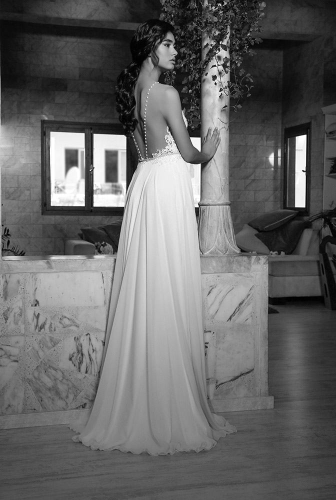 dara by studio levana beaded lace modern open illusion beck wedding dress with a clean skirt and rich top