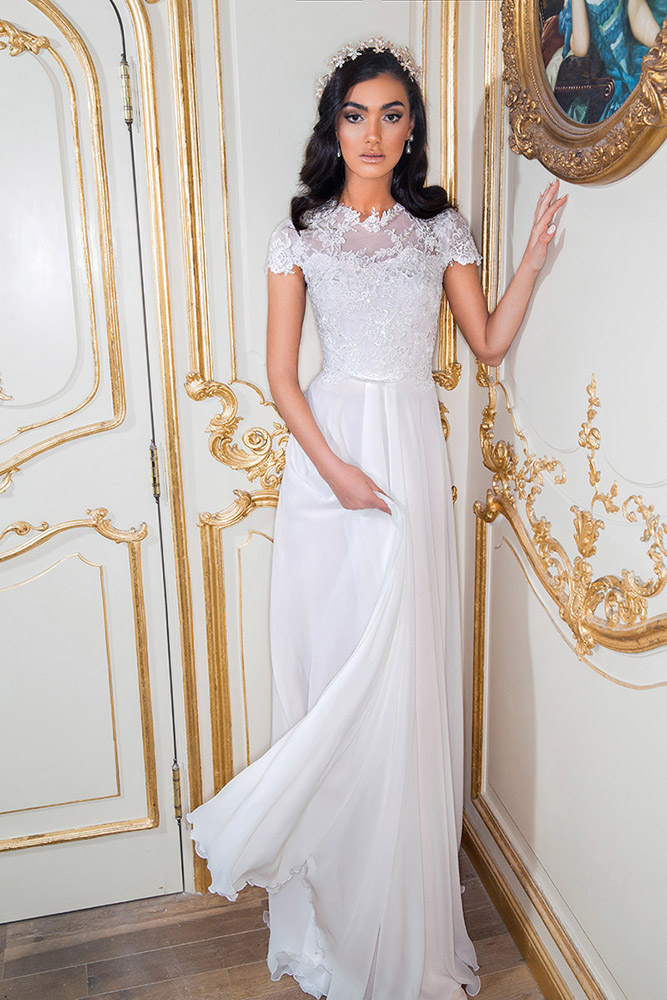 Fita by studio levana modest sprt sleev wedding dress with baeded lace top and flowy shiffon skit