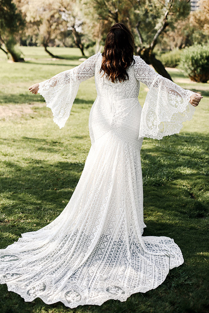 Haven by studio levana plus size all lace wedding dress with bell long lace sleeves
