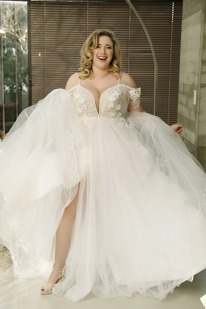 Holly by studio levana plus size princess ball gown with light tulle skirt and a baeded lace top