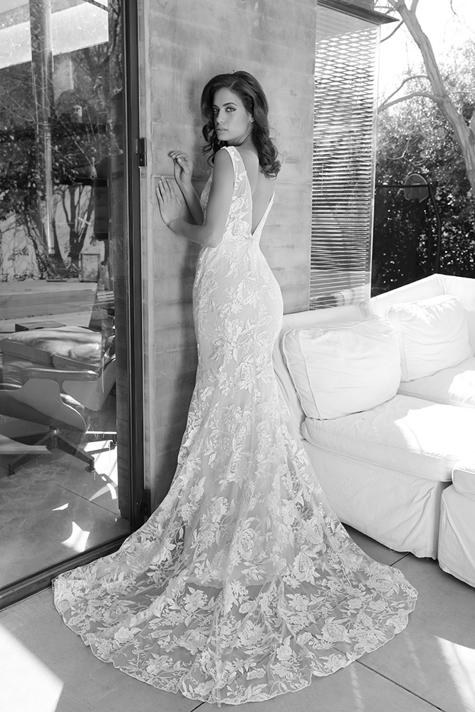 Ingrid by studio levana marmeid all lace wedding dress with long train