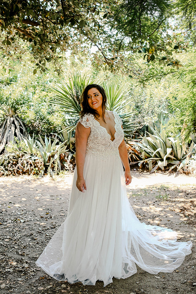 Jess by studio levana tulle and lace bell gown with deep v nack and short lace cup sleeves