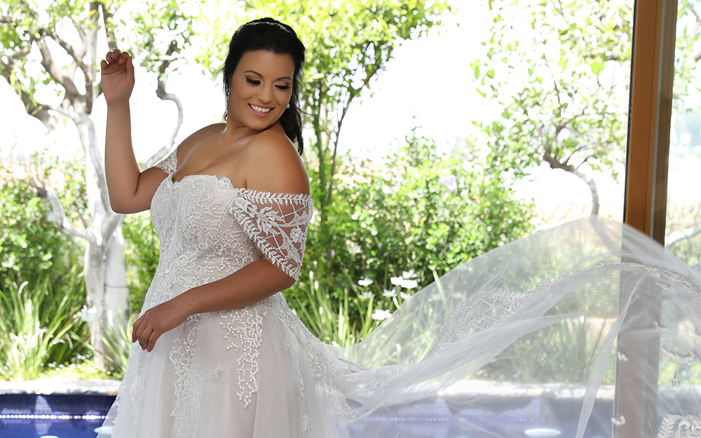 Kerrie by studio levana plus size princess ball gown with lace off soulder straps and a lace and tulle skirt