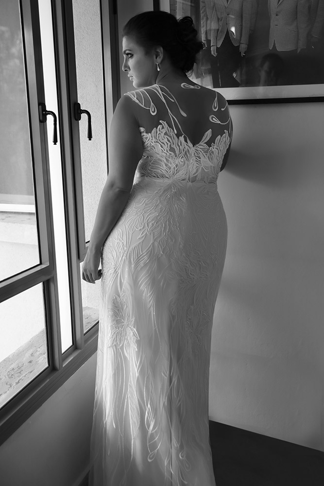Koral by studio levana plus size all lace fitted wedding dress with illusion nackline and back