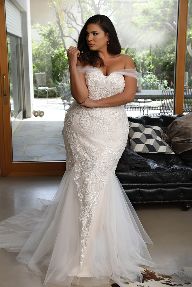 Kris by studio levana plus size all lace fitted corset wedding dress with tule off soulder straps