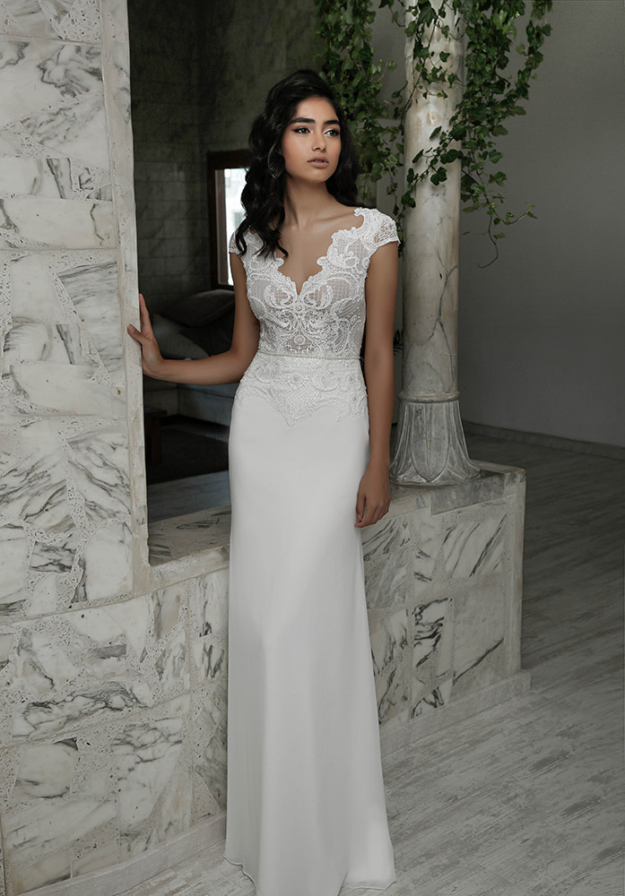 Lana by studio levana beutifull scuplted lace wedding dress with fitted skirt