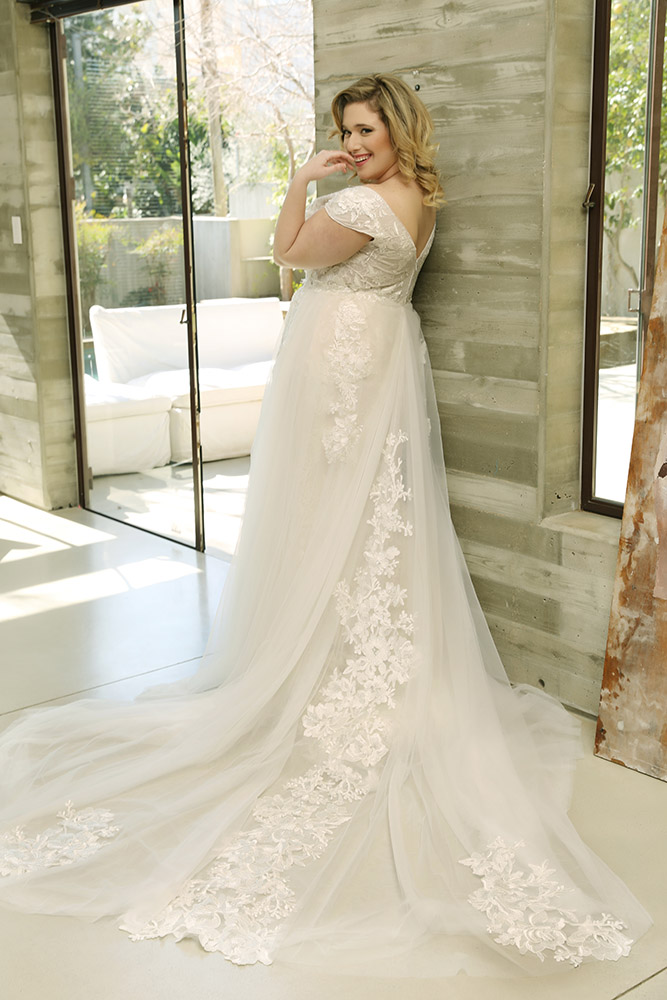 Lana by studio levana cup sleeves all lace wedding dress with tulle and lace long train over skirt