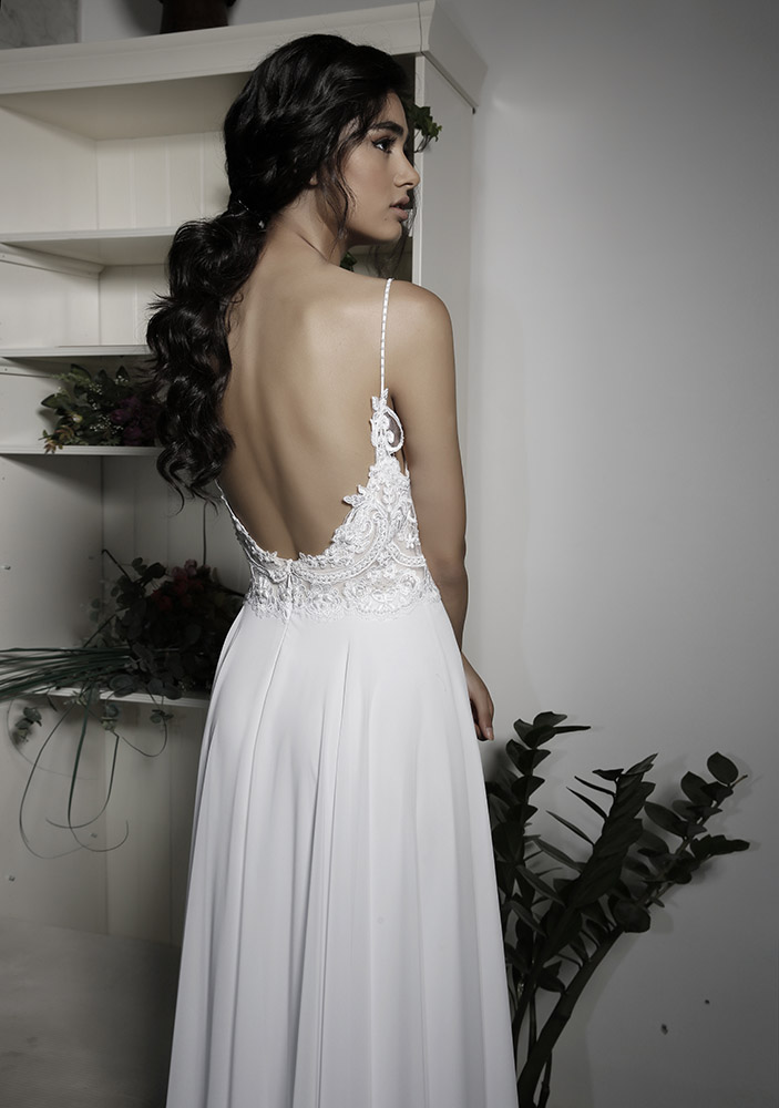 Lera by studio levana open back chic wedding dress with lace applique