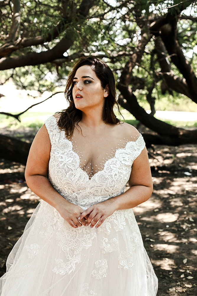 Lottie by studio lenava plus size ball gown with rich lace and pearls top and sparkly tulle skirt