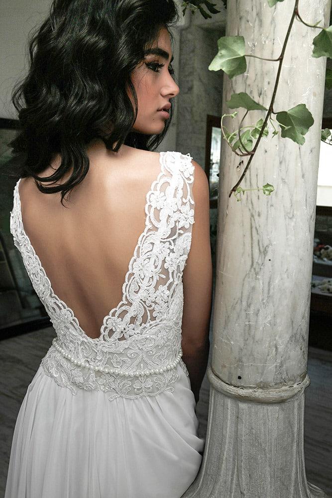 לין מבית סטודיו לבנה שמלת כלה בוהו שיק עדינה עם תחרת פרחים קלאסית וחגורת פנינים