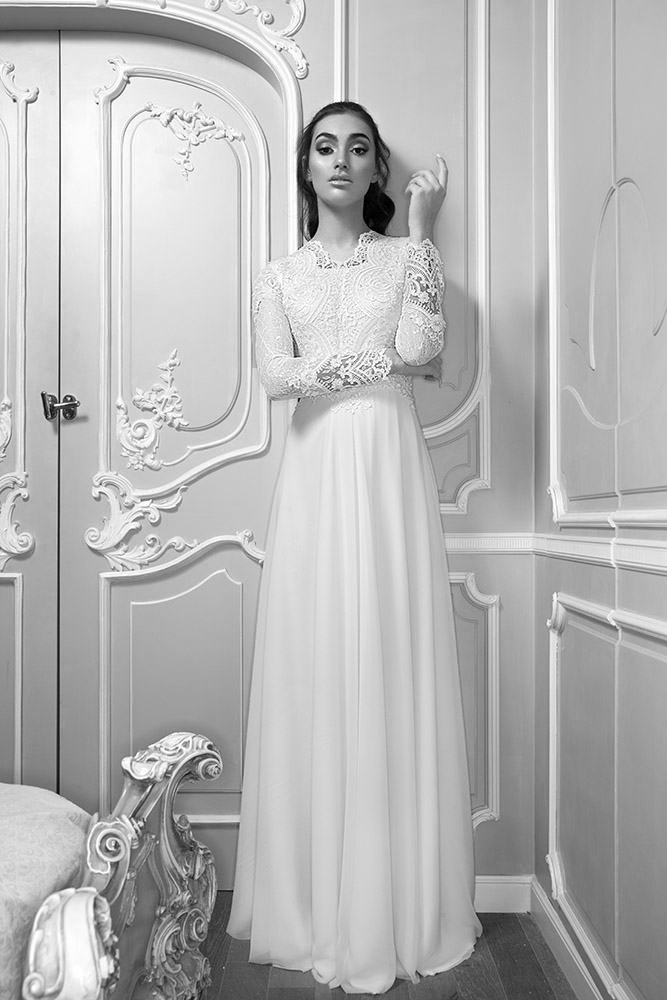 Maayan by studio levana modest wedding dress with sparkly lace top and clean skirt