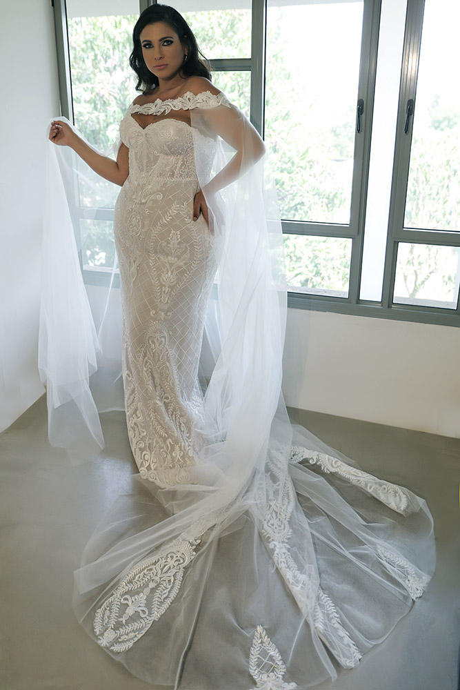 Madlene by studio levana plus size all lace strapless wedding dress with a tulle and lace cape
