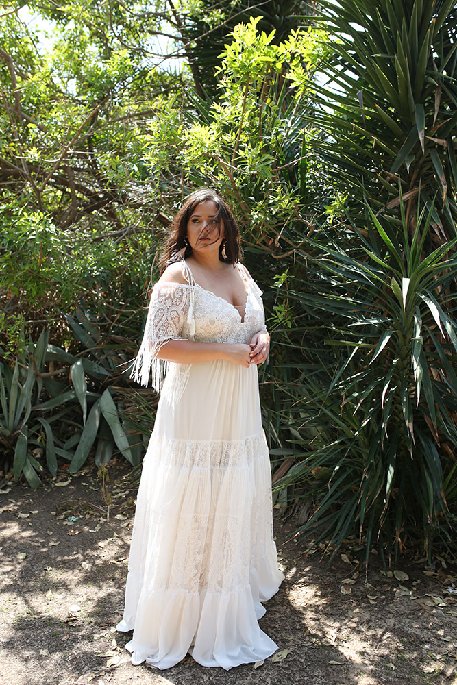 Masha by studio levana plus size boho chic wedding dress wwith lace sleeves and a layerd lace skirt