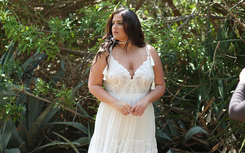 Masha by studio levana plus size boho chic wedding dress wwith lace top and a layerd lace skirt