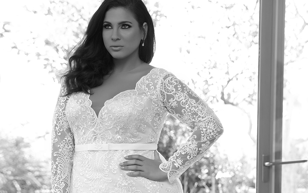 Milena by studio levana plus size fitted all lace wedding dress with long lace sleeves