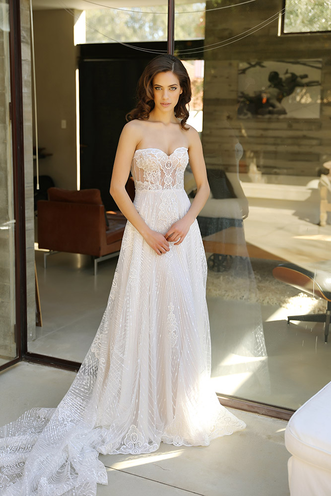 Naomi by studio levana strapless with sheer corset wedding dress all lace saqued and sculped train