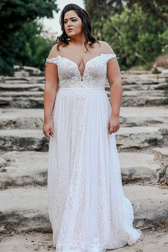 Nathale by studio levana sequined lace wedding dress with off shoulder and illusion mesh top