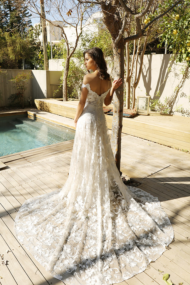 Nikol by studio levana off shoulder all lce wedding dress with floral lace and a long classic trian
