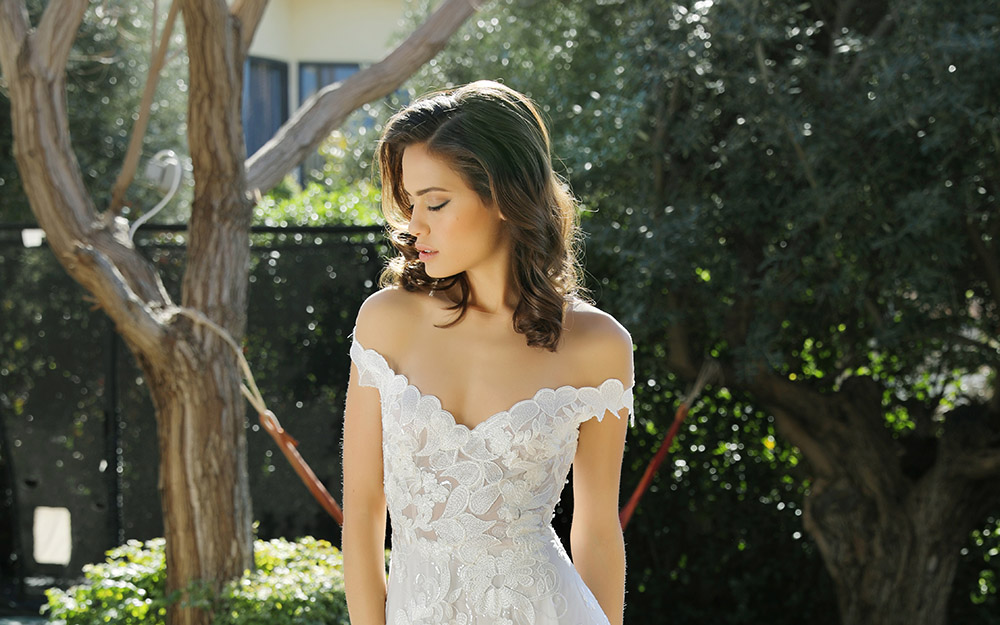 Nikol by studio levana off shoulder all lce wedding dress with floral lace