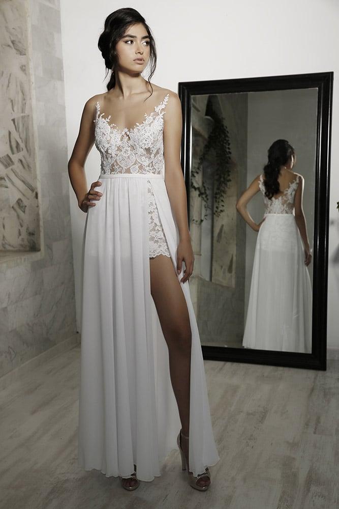 אושי מבית סטודיו לבנה שמלת כלה עם שסע וחצאית תחרה קצרה חלק עליון תחרת פרחים עדינה