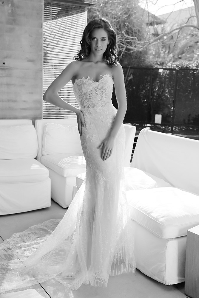 Pazit by studio levana stapless fitted with sheer corset wedding dress with sparkely tulle and floral lace appliques