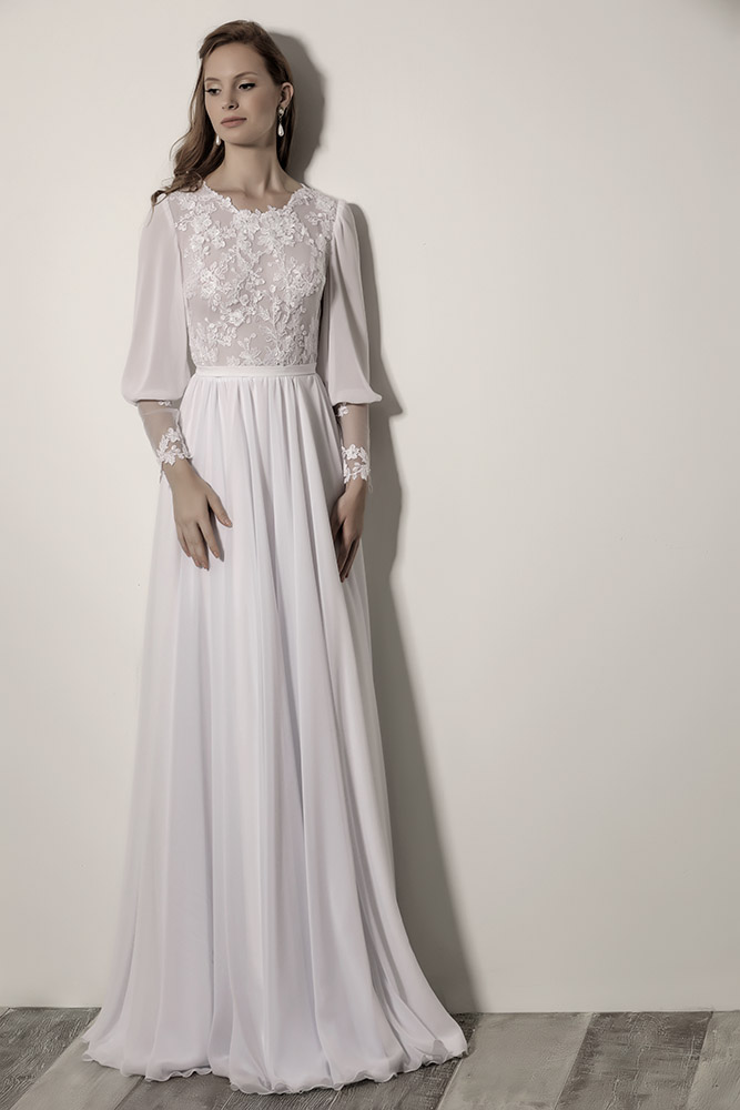 Penelope by studio levana modest wedding dress with baeded lace top and gental shiffon and lace sleeves