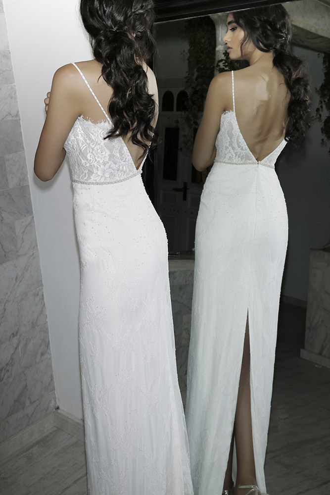 Rita by studio Levana fitted classic all lace wedding dress with baeded belt and open back