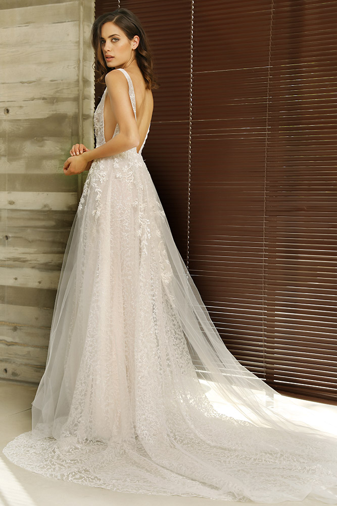 Sadie by studio levana classic ball gown wedding dress sparkly tulle and baeded lace appliques on top