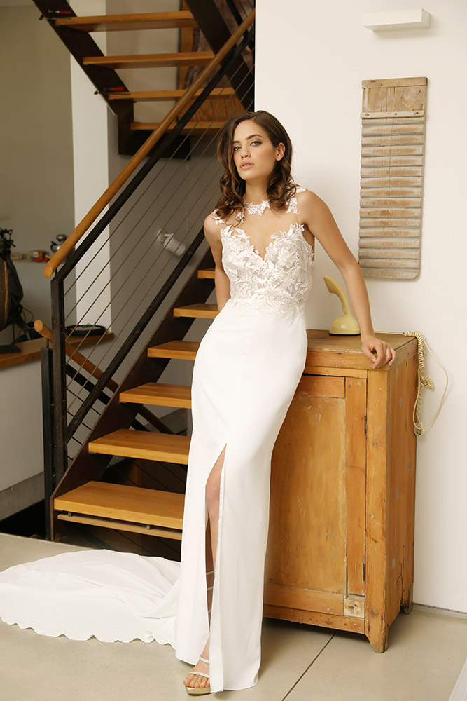 Savannah by studio levana fitted wedding dress with illusion and floral clssic lace and a clen fitted skirt