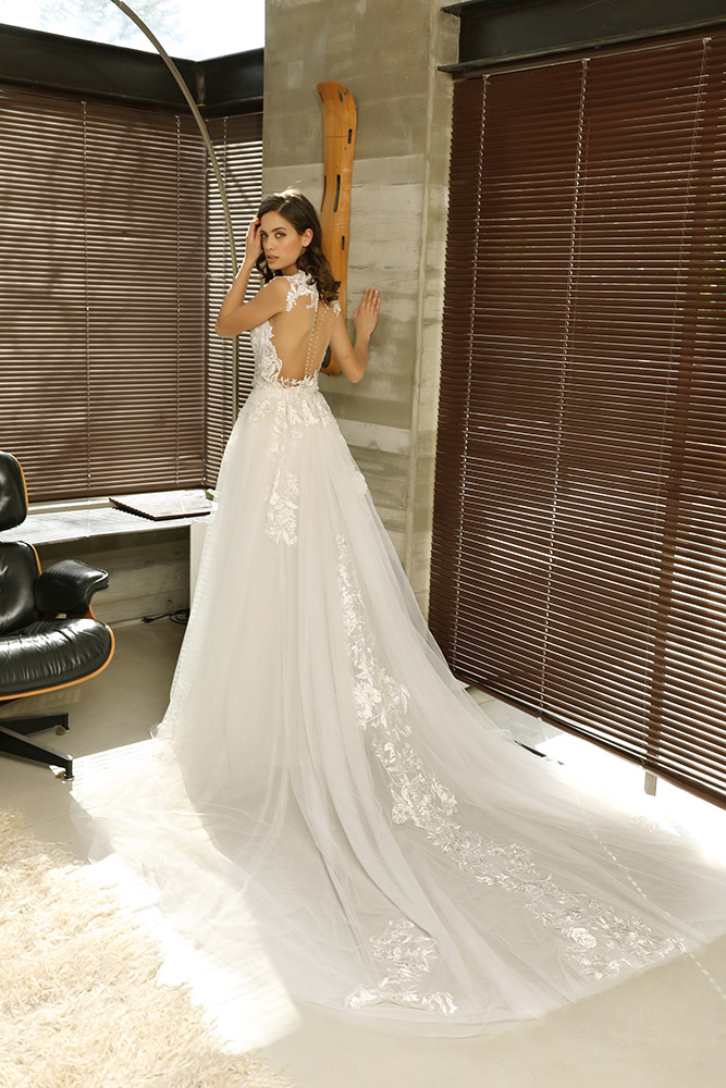 Savannah by studio levana with over top tulle and lace train skirt . open illusion back