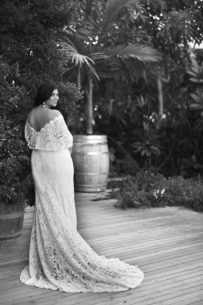 Sean by studio levana boho style all lace fitted wedding gown with a cape sleeves