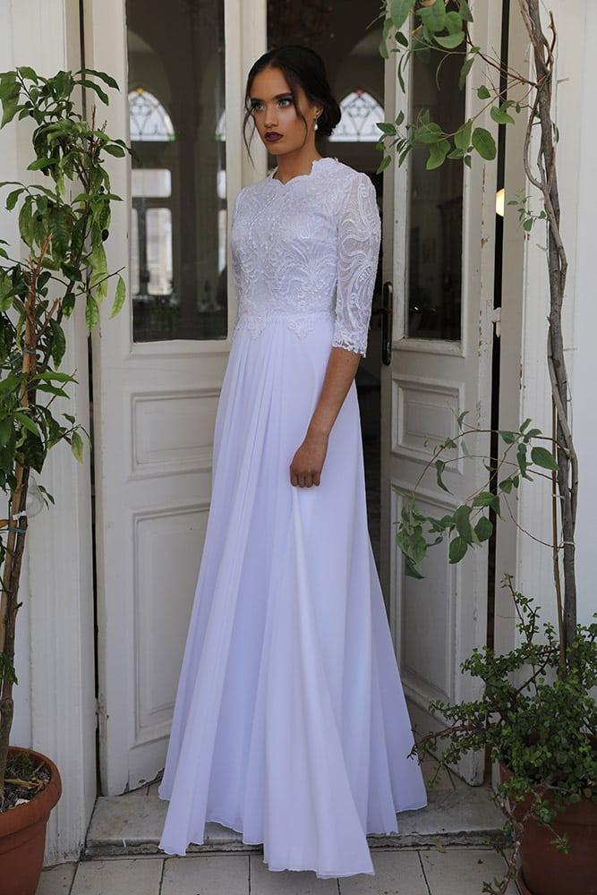 שיינה מבית סטודיו לבנה שמלת כלה צנועה מנצנצת עם תחרה מחוזרת וחצאית חלקה