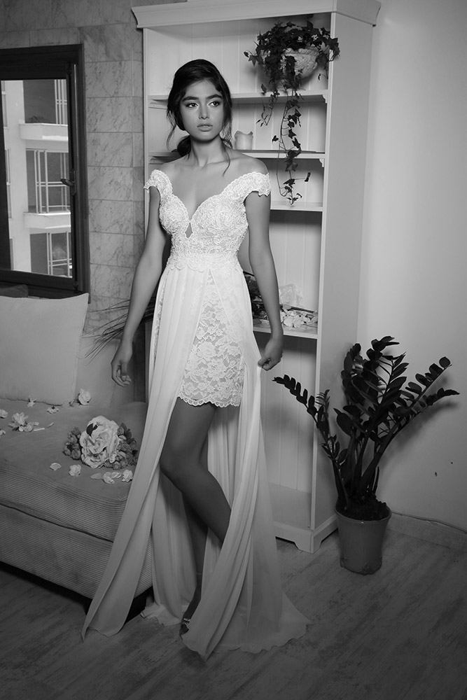 Shira by studio levana fashio fowored wedding dress with short lace skirt and a one layer shiffon skirt open nackine an illusion back