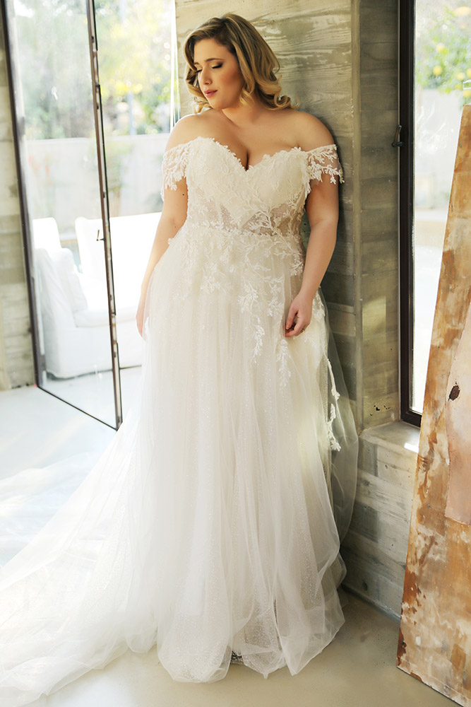 Shiran by studio levana plus size sparkly tulle and beaded lace ball gown with sheer corset and off soulder straps