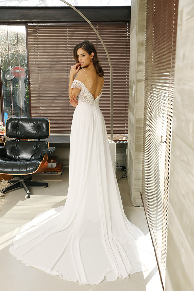 Sierra by studio levana off shoulder bridel gown with beaded lace sculpted nackline and a flowy shiffon skirt
