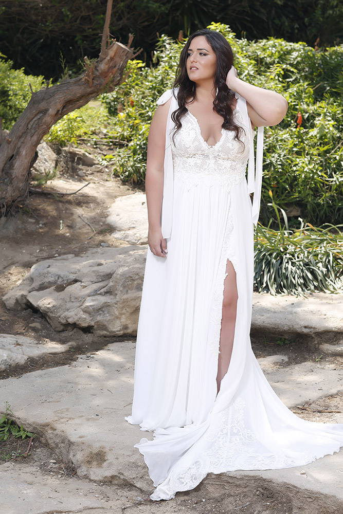 Solarby studio levana boho style wedding dress with deep v nackline and a flowy split shiffon skirt