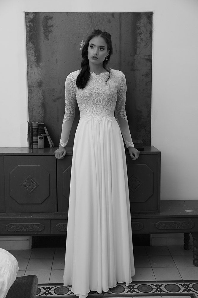 Sonata by stdio levana classic modest weddind dress with sparkly lace top