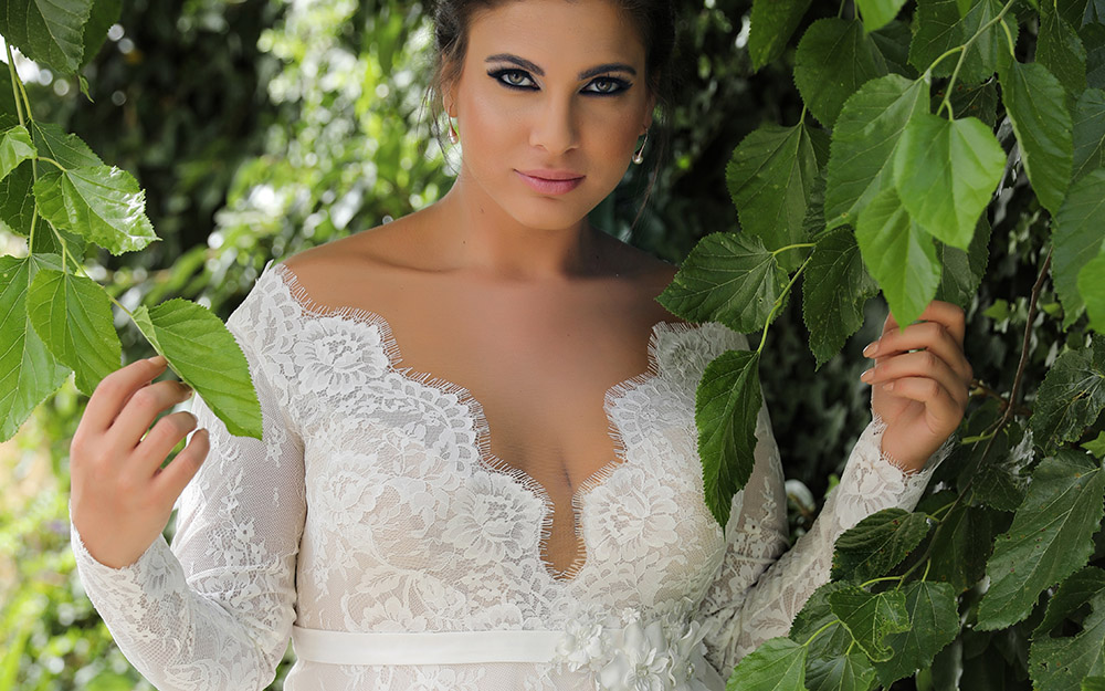 Sophia by studio levana plus size all lace a line weddind dress and a deep sculpted nackline