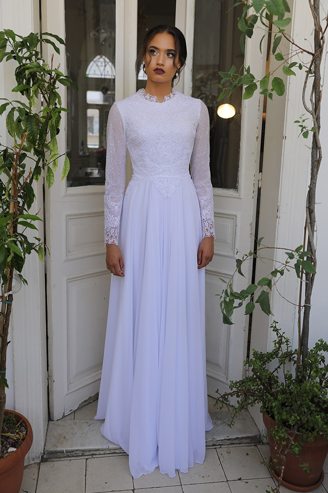 susanna by studio levana modest classic wedding dress with long lace sleeves