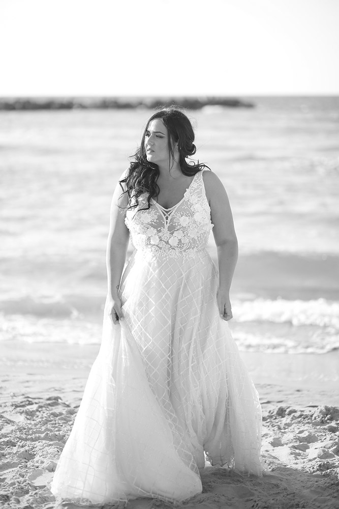 Taly by studio levana plus size wedding dress with 3D floral blace and a line sparkly tulle skirt