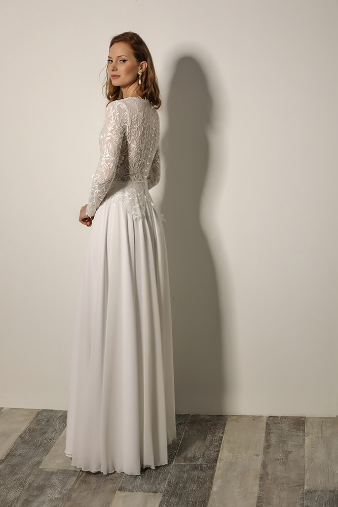 Topaz by studio levana modst bridel gown floral romantic sequined top and long sleeves
