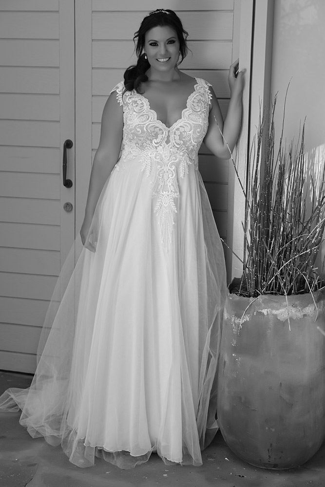 Tracie by studio levana plus size princess chic wedding dress with lace sparkly top and a gentel tulle skirt
