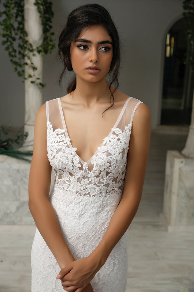 Tuly by studio levana couture all lace fitted wedding dress with floral appliques