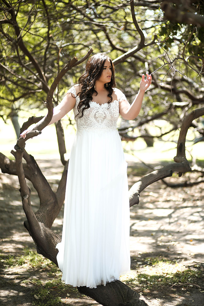 Velentina by studio levana plus size wedding dress with baeded romantic lace and a clean skirt