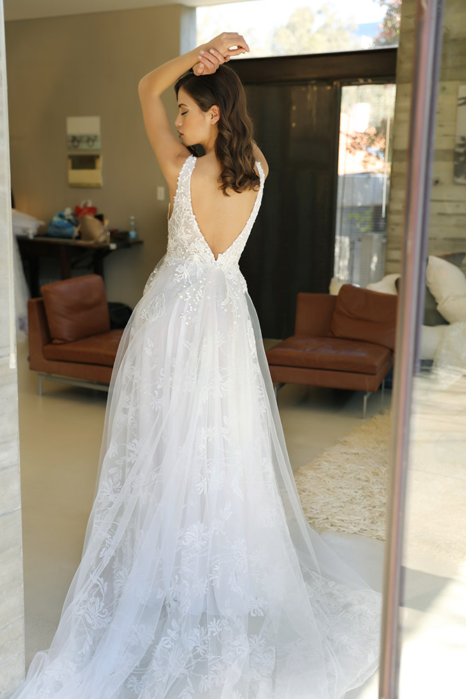 Venessa by studio levana all lace parkly princess wedding dress with v low back and tulle skirt