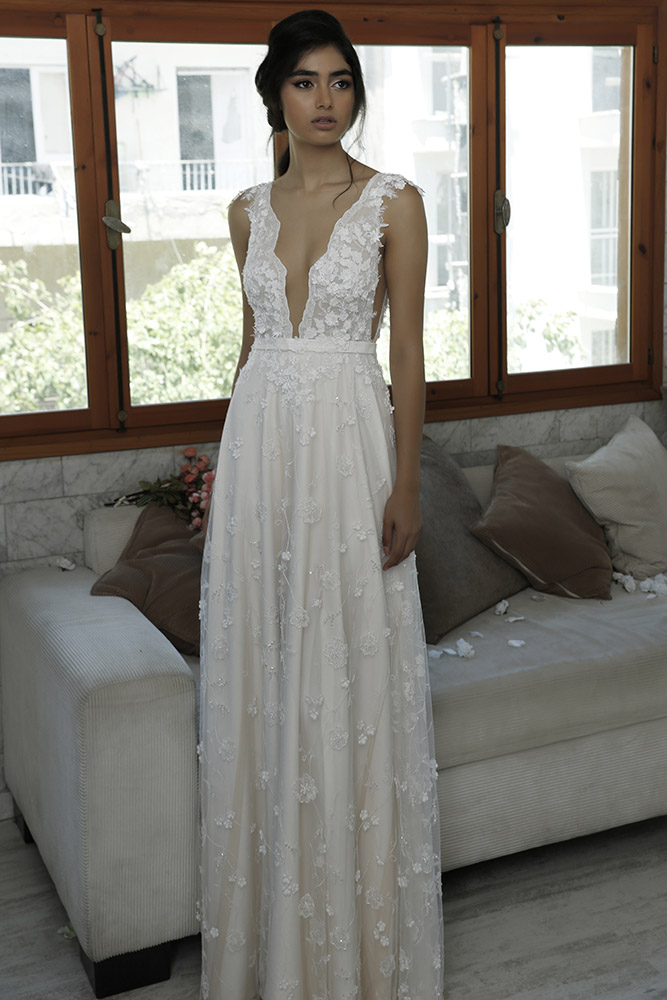 Vered by studio levana low v nack and all 3D floral lace wedding dress