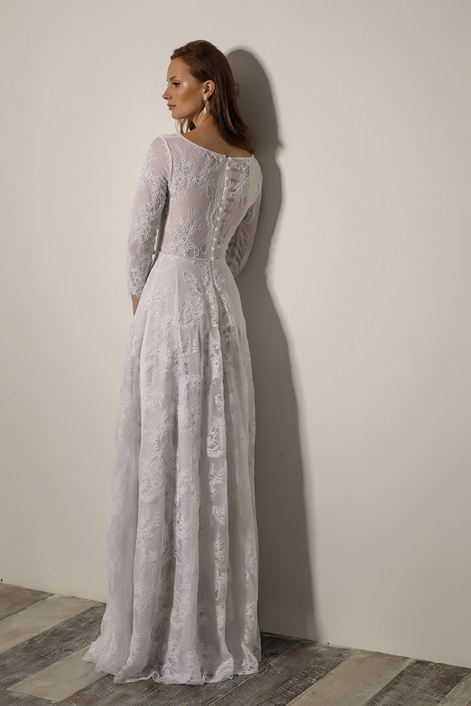 verona by studio levana all lce modest wedding dress with an A line skirt